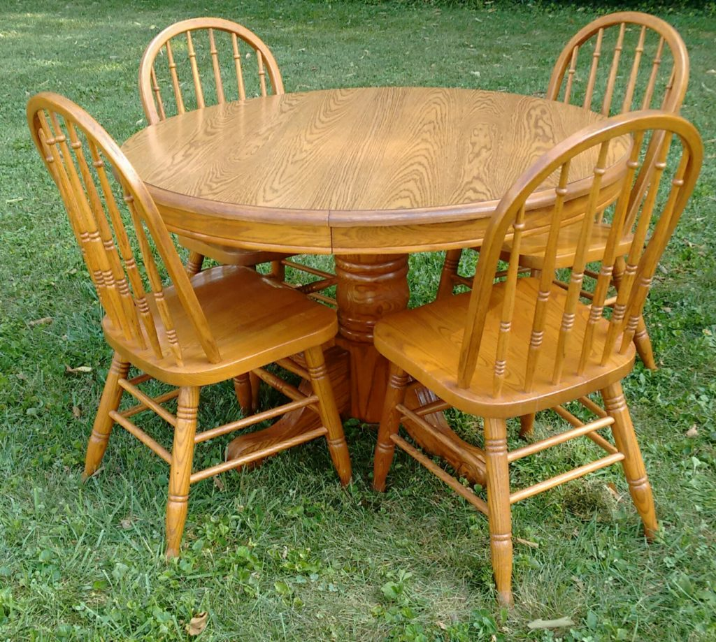 Amazing photo of  Pedestal Oak Table with 4 Chairs Stock Swap Furniture Consignment with #74390A color and 1024x919 pixels