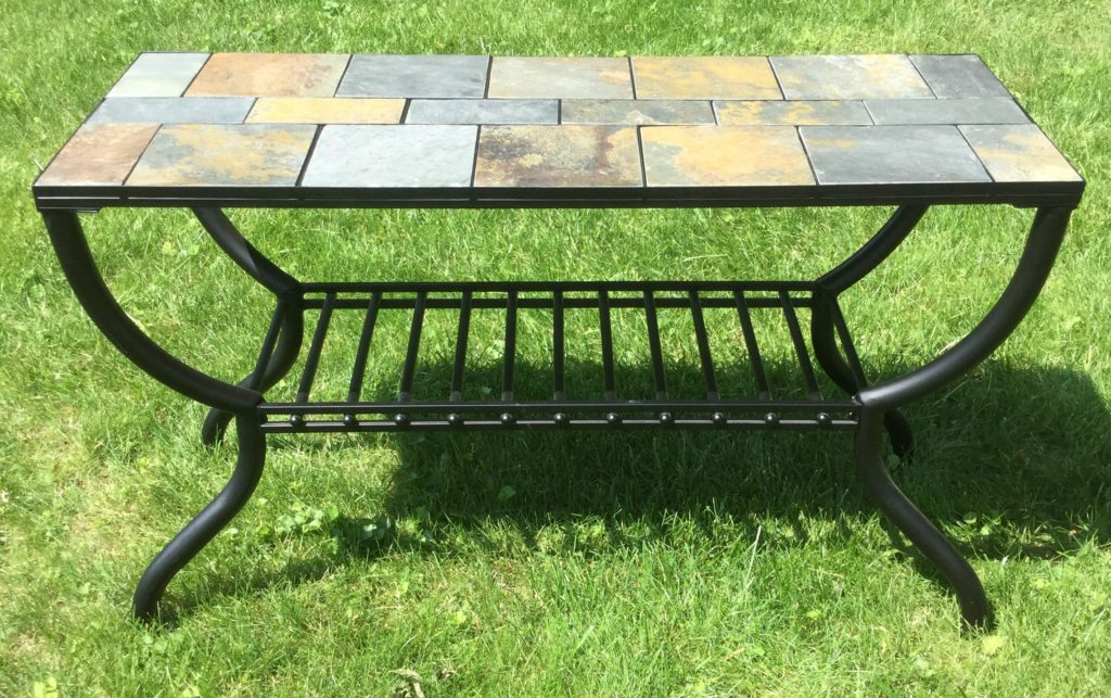 Metal Hall Table slate top/metal hall table - stock swap furniture consignment