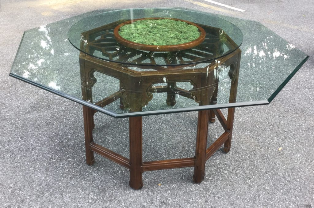 Octagon Glass Top Table With 6 Chairs