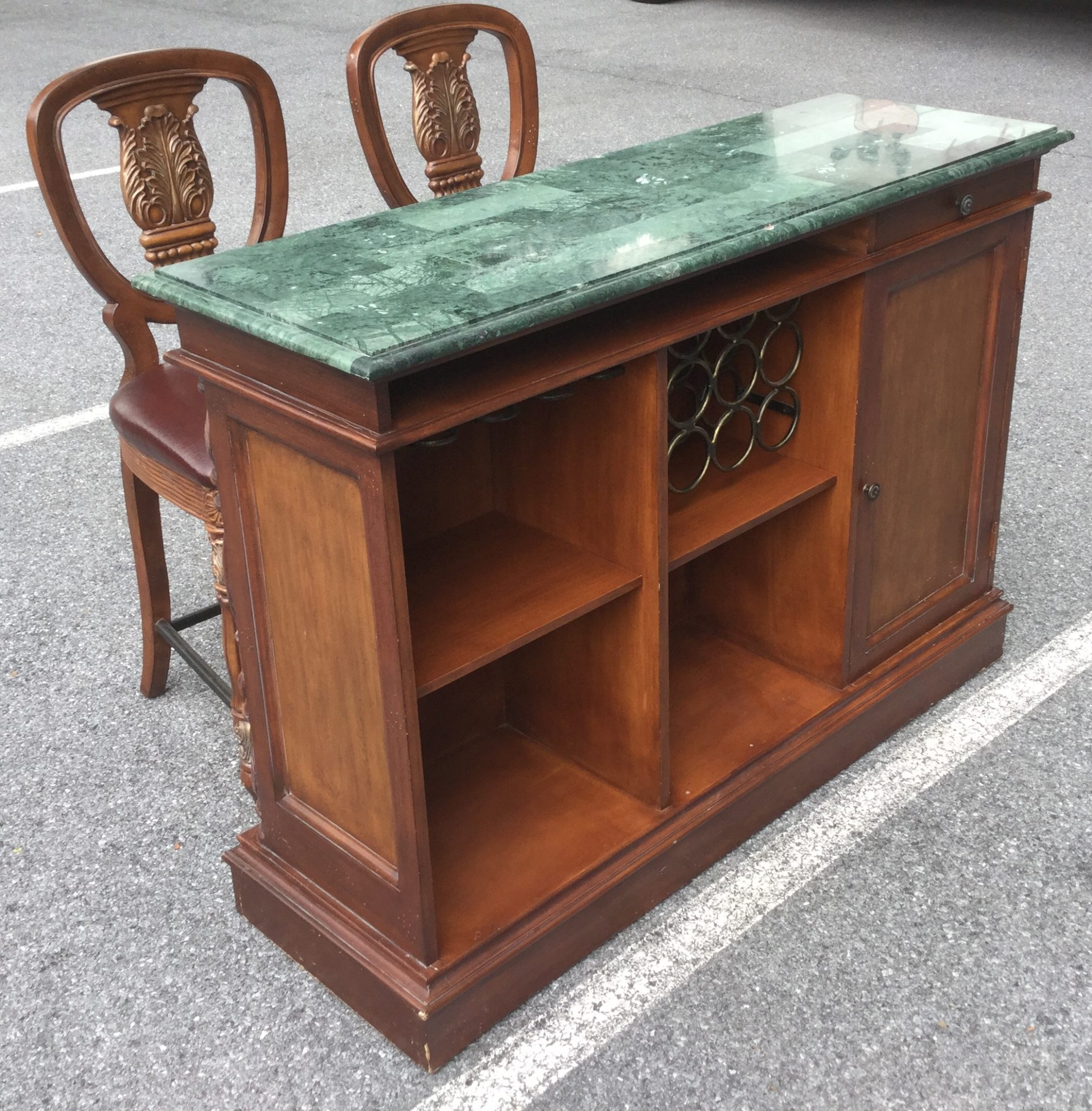 Dark wood bar with green stone top stock swap furniture for Dark wood furniture