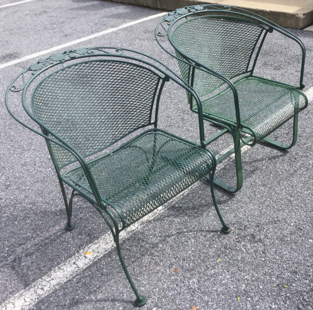 Green Wrought Iron Patio Table With 4 Chairs Stock Swap