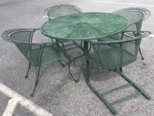 Green Wrought Iron Patio Table With 4 Chairs
