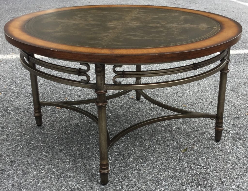 Coffee Table Metal And Wood Embossed Stock Swap Furniture Consignment