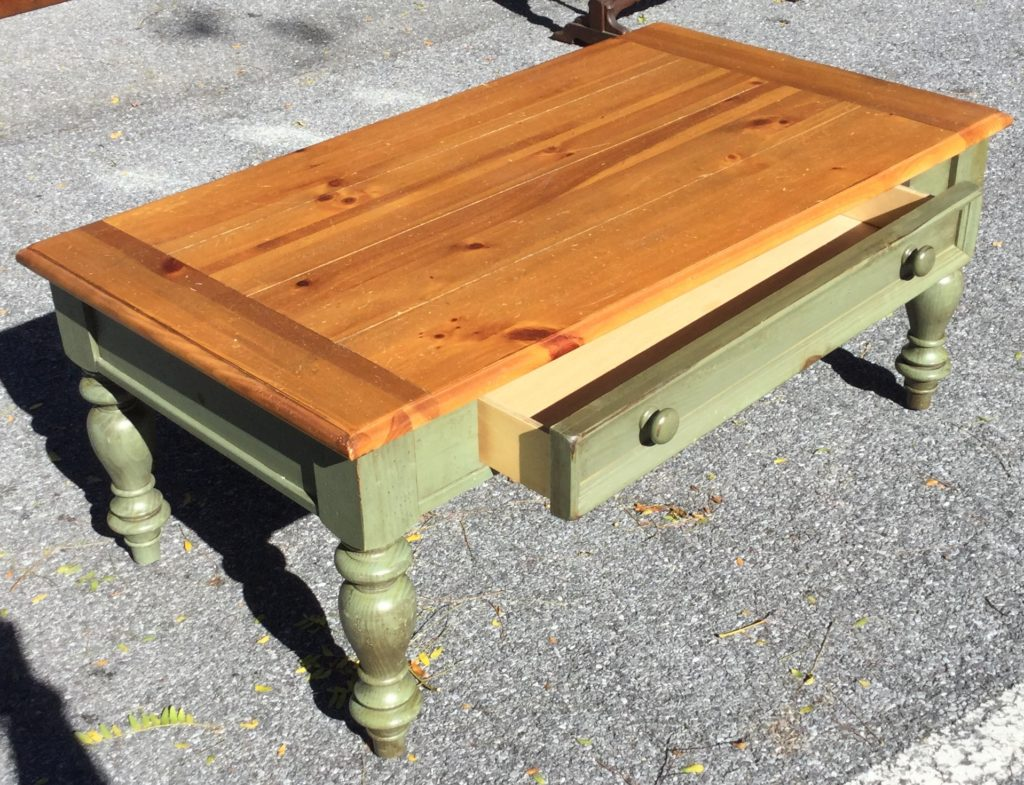 Green natural pine coffee table with drawer stock swap furniture consignment Pine coffee table with drawers