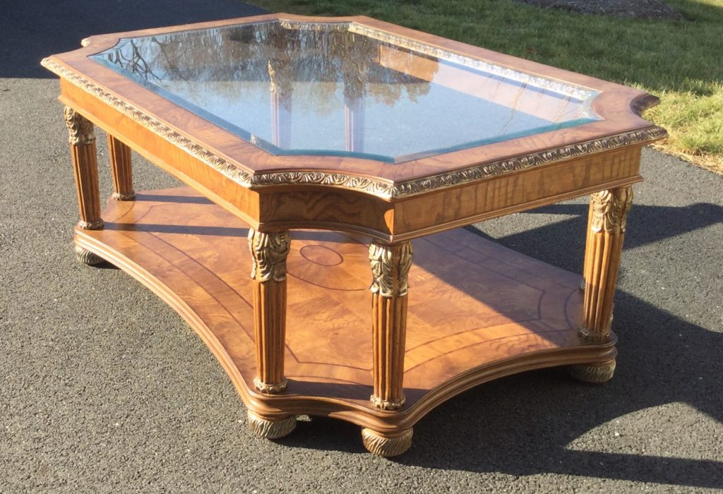 Gold Accent Coffee Table With Glass Top Stock Swap Furniture Consignment