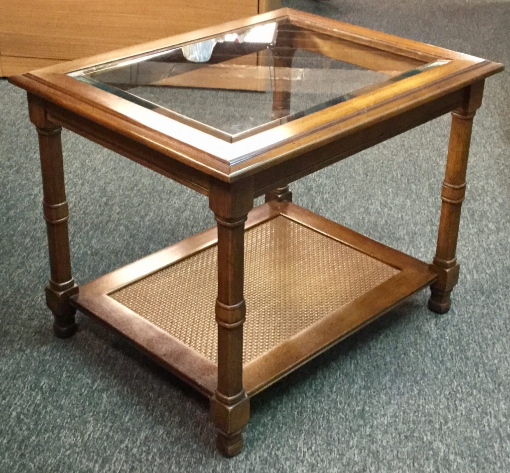 Wooden end table with glass insert and storage stock for Kitchen table with glass insert
