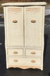 White Wicker Clothing Armoire/TV Armoire