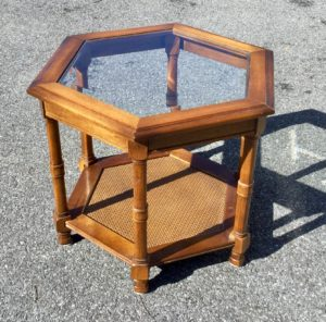 Hexagonal Glass/Wood End Table