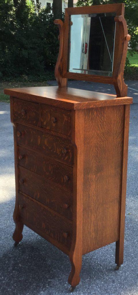 Antique Tiger Oak 6 Drawer Chest w/ Mirror - Antique Tiger Oak 6 Drawer Chest W/ Mirror - Stock Swap Furniture
