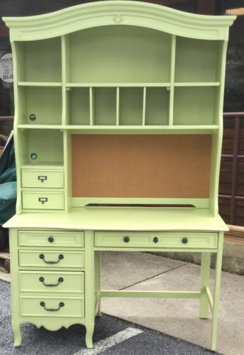 Stanley Green Computer Desk With Hutch Top