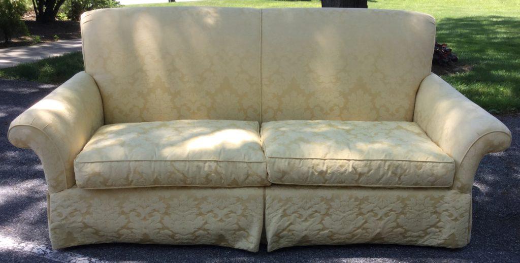 Century Cream Yellow Damask Sofa Stock Swap Furniture